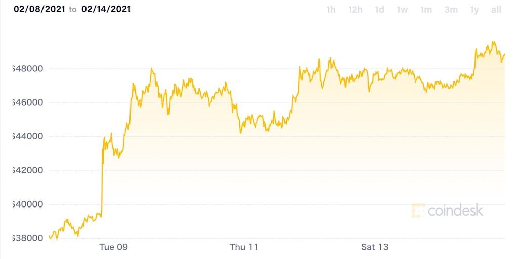 ビットコイン価格チャート(2021年2月8日〜14日)
