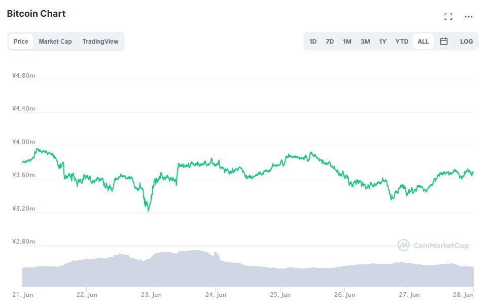 ビットコインチャート(2021年6月21日〜6月27日)